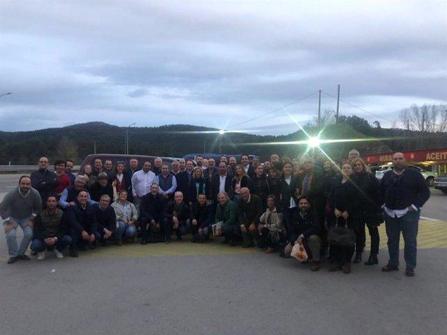 Asistentes de Vox Córdoba al acto de su partido en Vistalegre.