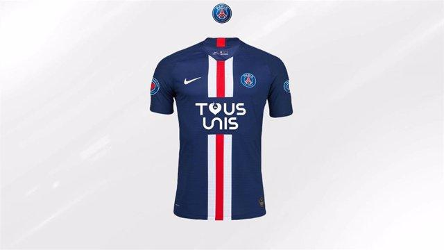 Imagen de la camiseta solidaria del PSG para ayudar a los hospitales de París en su lucha contra el coronavirus