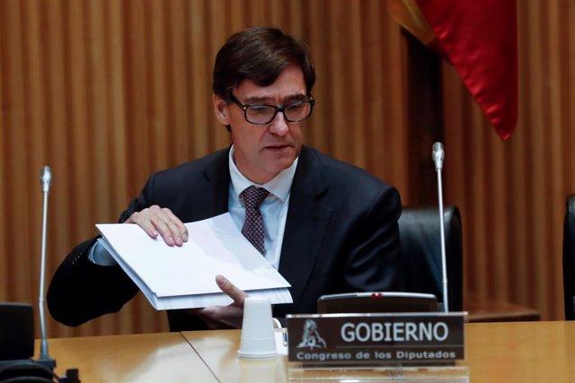 El ministre de Sanitat, Salvador Illa, durant la seva compareixença en la Comissió de Sanitat del Congrés dels Diputats.
