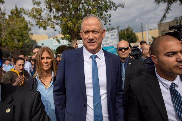 El líder de la coalición opositora de Israel Azul y Blanco, Benjamin Gantz