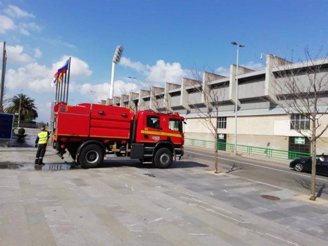 La UME desinfecta el Palacio de Exposiciones de Santander