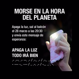 WWF anima a lanzar en morse el mensaje 'Apaga la luz. Todo irá bien' este sábado por La Hora del Planeta este sábado a las 20.30 horas en las ventanas y balcones de toda España.