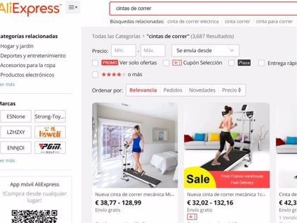 Los españoles gastan un 1.159% más en cintas de correr en AliExpress por el estado de alarma