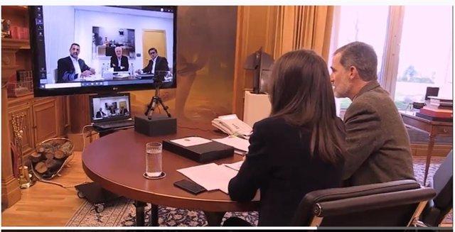 Videoconferencia de los Reyes con el presidente de Mercadona, Juan Roig
