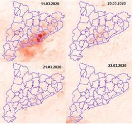 Mapa de la contaminación en Catalunya desde que se decretó el estado de alarma por la pandemia de coronavirus