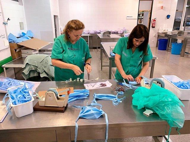 Imagen de las mascarillas que elabora el personal sanitario