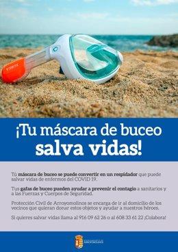 Arroyomolinos pone en marcha una campaña de mascarillas y gafas de buceo
