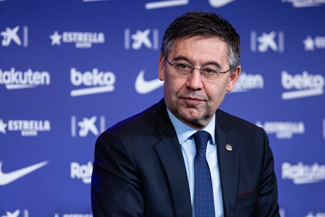 Josep Maria Bartomeu president of FC Barcelona during the presentation of Quique Setien as a new coach of FC Barcelona with contract till 30th of June of 2022 at Camp Nou Stadium on January 14, 2020 in Barcelona, Spain.