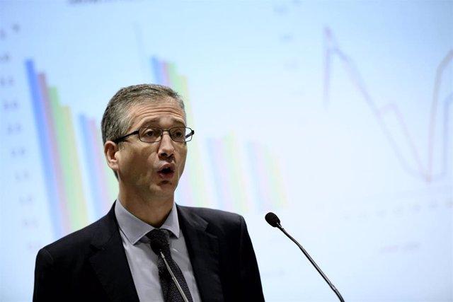 El presidente del Banco de España, Pablo Hernández de Cos, durante su intervención en la inauguración de la jornada 'Spanish Capital Markets Conference' organizada por Afme y AEB, en Madrid (España), a 13 de febrero de 2020.