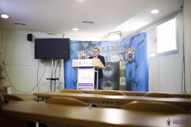 El presidente de Melilla, Eduardo de Castro, en rueda de prensa telemática