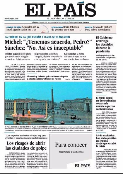 Las portadas de los periódicos del sábado 28 de marzo de 2020