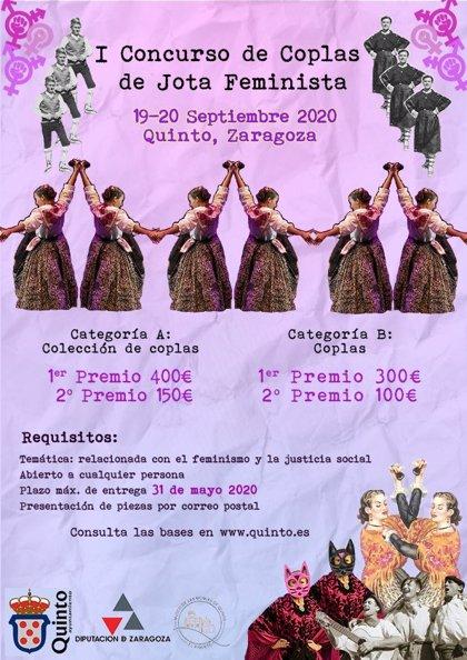 El municipio de Quinto abre el plazo para presentarse al primer Concurso de Coplas de Jota Feminista