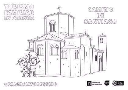 Fichas para que los niños coloreen los recursos turísticos de Palencia