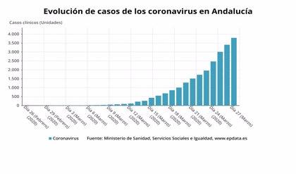 Andalucía alcanza los 4.277 contagiados por coronavirus, 484 más, y suma 31 fallecidos hasta los 175