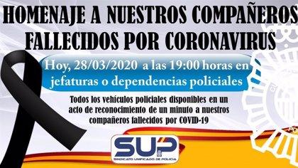 El SUP convoca un homenaje a las 19.00 horas por los agentes fallecidos a causa del coronavirus
