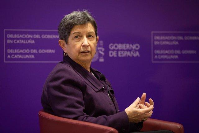 La delegada del Gobierno en Cataluña, Teresa Cunillera, durante el Diálogo sobre 'Mujer y política' con la presidenta del Congreso, Meritxell Batet, en Barcelona/Catalunya (España) a 3 de marzo de 2020.