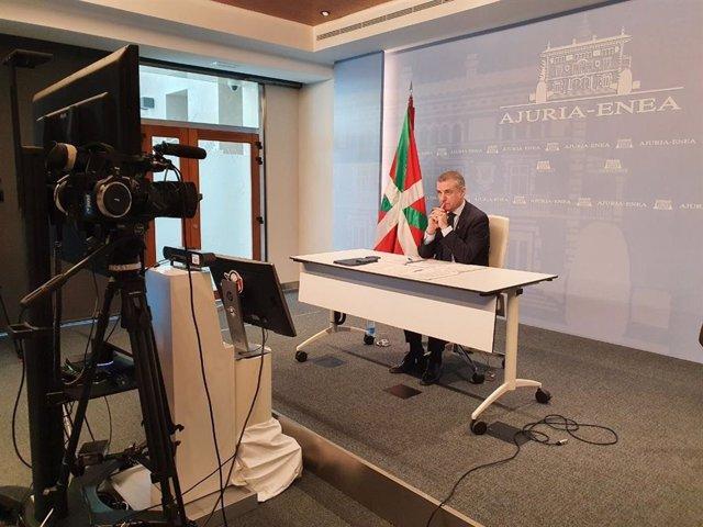 El lehendakari, Iñigo Urkullu, participa en la videoconferencia de presidentes (archivo)