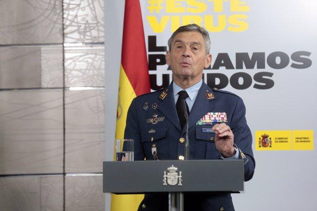 El jefe del Estado Mayor de la Defensa, Miguel Ángel Villarroya, interviene en la rueda de prensa convocada para informar de las últimas novedades sobre la situación del Covid-19 en España, en Madrid (España), a 29 de marzo de 2020.