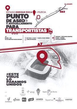 Cartel del punto de paso y avituallamiento para transportistas