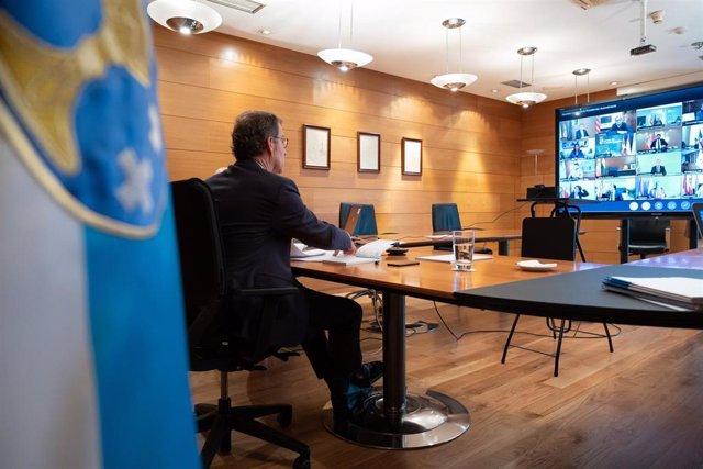 El presidente de la Xunta, Alberto Núñez Feijóo, en la reunión por videoconferencia con el resto de líderes autonómicos y el presidente del Gobierno, Pedro Sánchez.