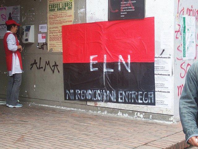 Pancarta la guerrilla del ELN en Colombia