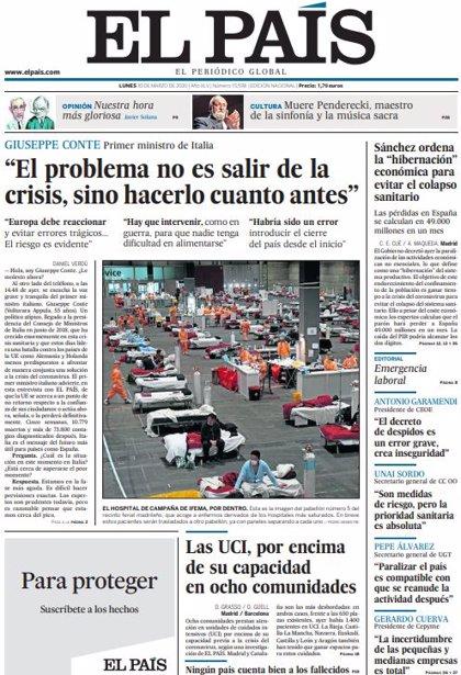 Las portadas de los periódicos del lunes 30 de marzo de 2020