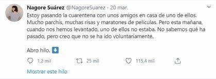 La misteriosa cuarentena de Nagore Suárez que se ha hecho viral en Twitter
