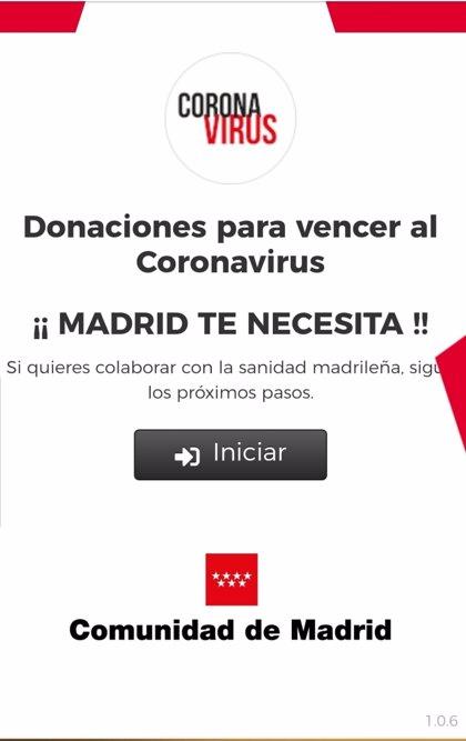 La Comunidad abre un página web para donaciones a la Sanidad y atender la crisis