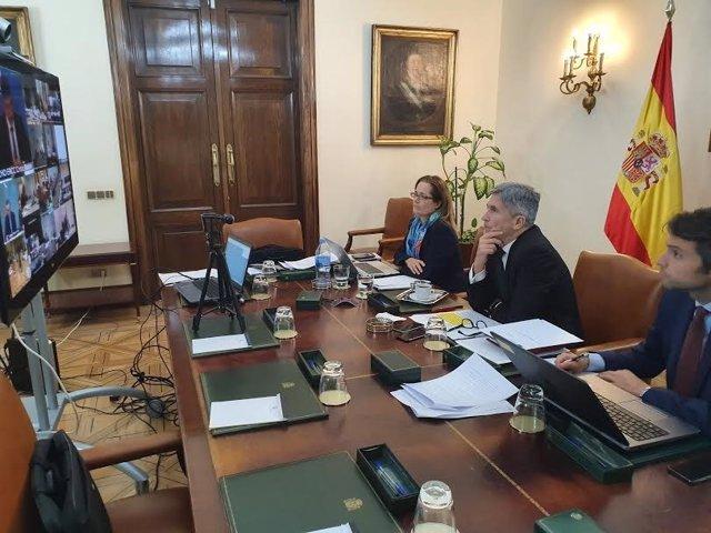 El ministro del Interior, Fernando Grande-Marlaska, en una reunión telemática desde su despacho