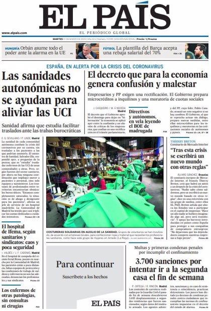 Las portadas de los periódicos del martes 31 de marzo de 2020