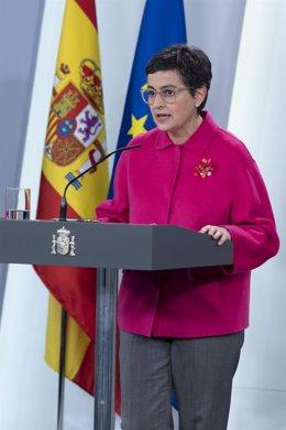 La ministra de Exteriores, Arancha González Laya, en rueda de prensa telemática en el Palacio de la Moncloa