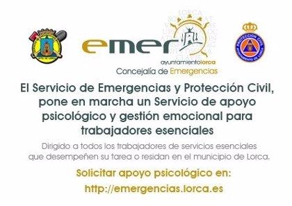 Lorca pone en marcha servicio de apoyo psicológico y gestión emocional a trabajadores servicios esenciales