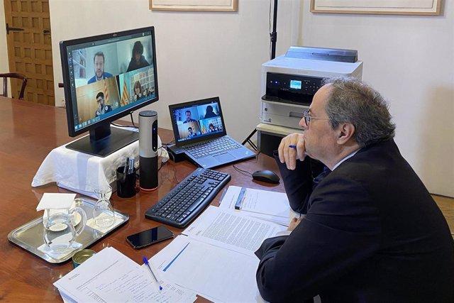 El presidente del Govern, Quim Torra, preside el Consell Executiu de forma telemática.