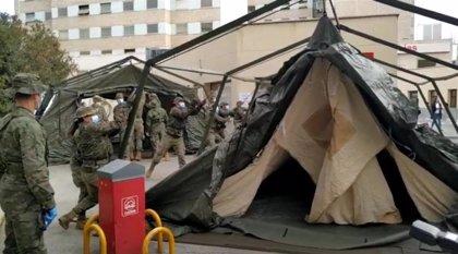Militares salmantinos del REI 11 montan en 24 horas la ampliación del Gregorio Marañón de MadridFOTO REMITID