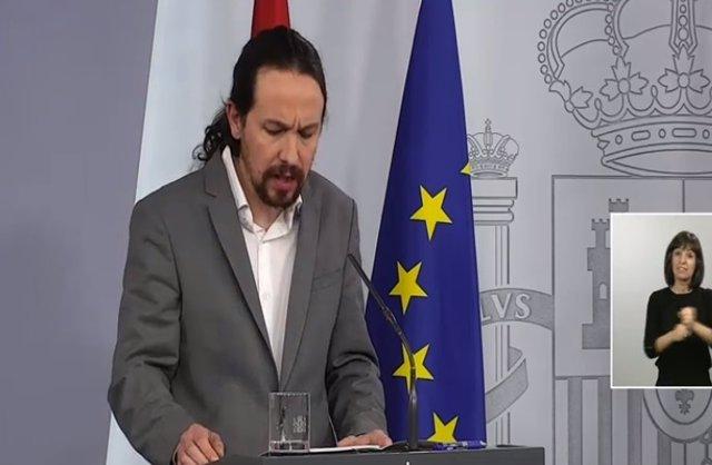 Roda de premsa del vicepresident de Drets Socials del Govern central, Pablo Iglesias, després del Consell de Ministres