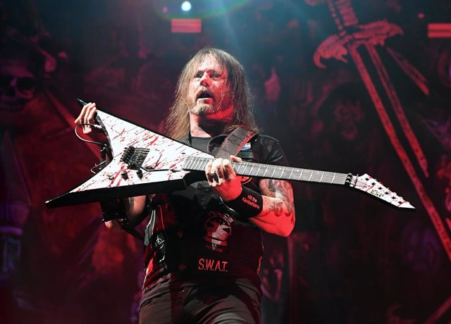 Guitarist Gary Holt of Slayer performs during a stop of the band's Final World Tour at MGM Grand Garden Arena on November 27, 2019 in Las Vegas, Nevada.