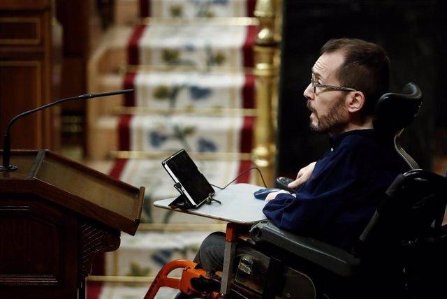 El portavoz parlamentario de Unidas Podemos, Pablo Echenique, durante el pleno celebrado el pasado miércoles en el Congreso de los Diputados en Madrid