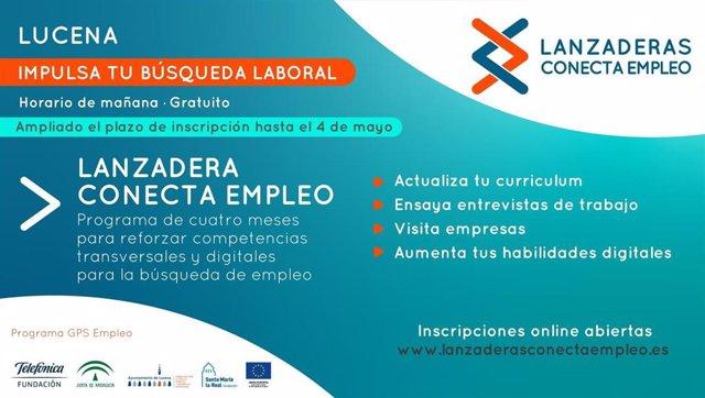 Cartel de la 'Lanzadera Conecta Empleo' de Lucena