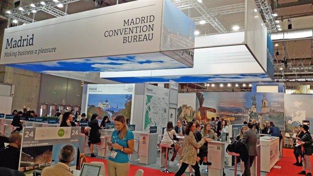 Imagen del estand de Madrid Convention Bureau (MCB) en la feria IBTM World de Barcelona.