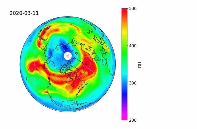 Agujero de la capa de ozono sobre el Ártico de marzo de 2020