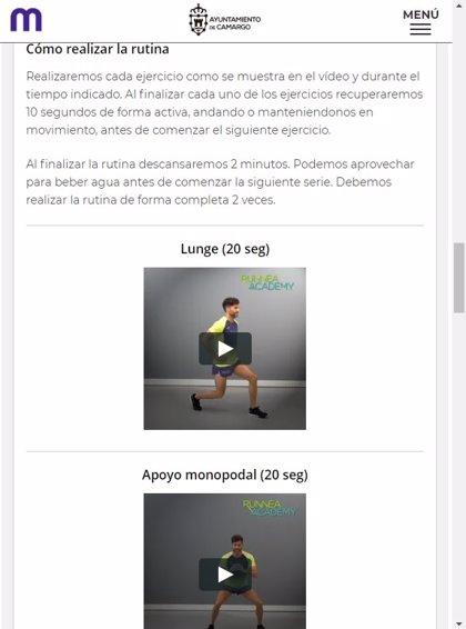 Camargo ofrece a los vecinos una aplicación web para hacer ejercicio desde casa