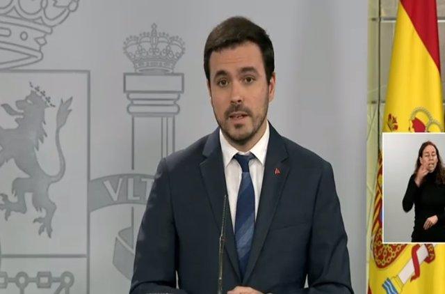 Rueda de prensa del ministro de Consumo, Alberto Garzón