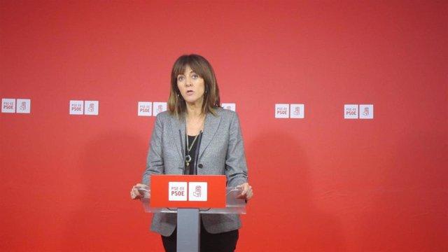 La secretaria general del PSE-EE, Idoia Mendia, en rueda de prensa en Bilbao