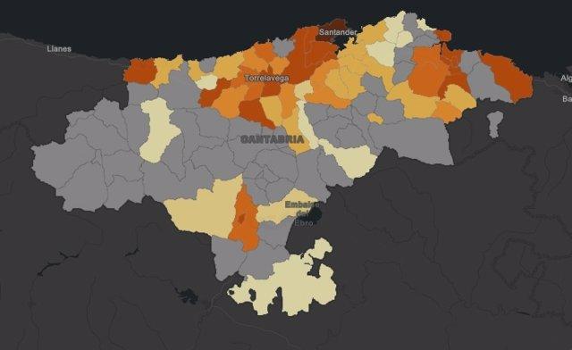 Mapa de casos de coronavirus en Cantabria