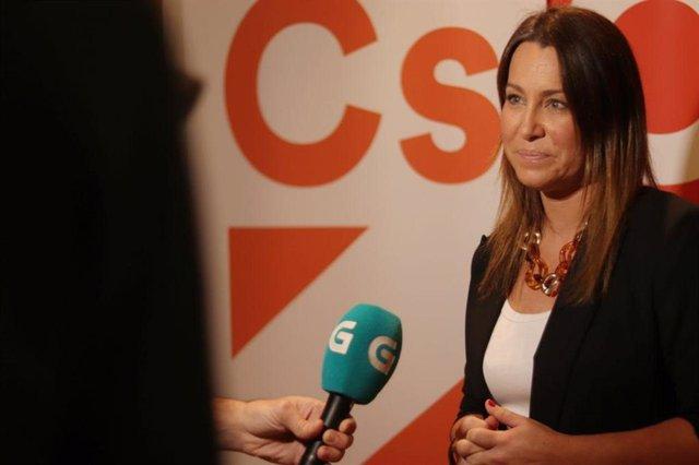 La líder de Ciudadanos Galicia, Beatriz Pino, en la sede de la formación naranja. Foto de archivo.