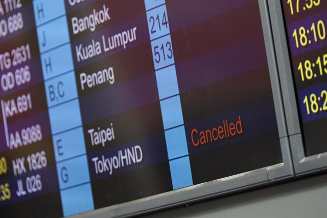 Vuelos cancelados en el Aeropuerto Internacional de Hong Kong