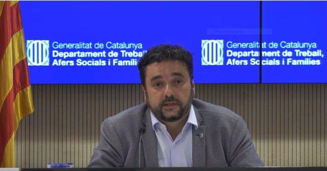 Captura de pantalla de la comparecencia del secretario de la Conselleria de Asuntos Sociales y Famílias, Francesc Iglesias, el 1 de abril del 2020