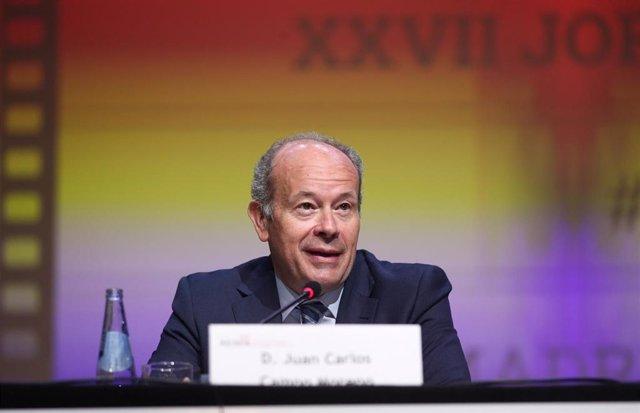 El ministro de Justicia, Juan Carlos Campo, interviene en la inauguración del Congreso de Abogados de Familia organizado por la Asociación Española de Abogados de Familia(AEAFA) celebrada en el Hotel Meliá Castilla, Madrid (España), a 6 de marzo de 2020.