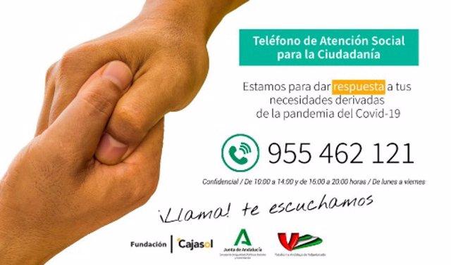 Imagen del teléfono de atención social ante el coronavirus puesto en marcha por la Plataforma Andaluza de Voluntariado, Fundación Cajasol y Consejería de Igualdad.