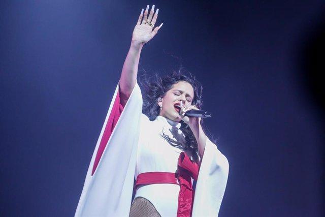 La cantante Rosalía actúa en el WiZink Center de Madrid dentro de su gira de 'El mal querer' el 10 de diciembre de 2019.